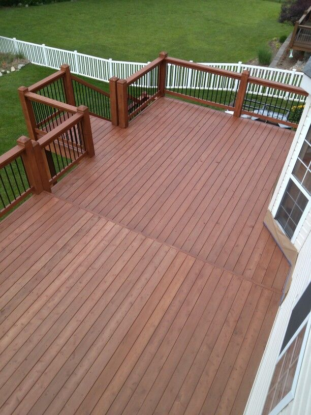 Cedar Deck - AFTER -Sherwin Williams Deckscapes stain;  Cider Mill-SW3512