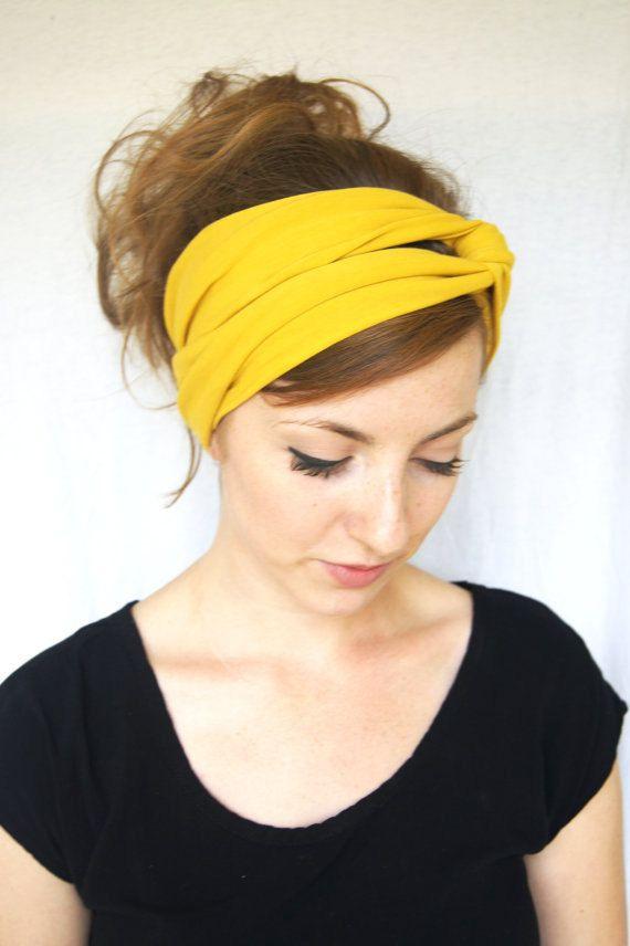 Turban Headband // Mustard Headband // Jersey Knit by wildjuniper, $16.00