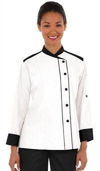 Style # 40518: WHITE W/ BLACK: Chaqueta de Chef con Mangas Largas para Mujer - Broches de Presión - 65/35 Poliéster/Algodón