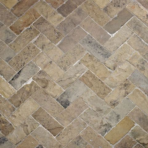 Antique English Reclaimed Herringbone W/ Sawn Edge sandstone tiles £354.00 Sandstone floor tiles are one of the most durable and handsome natural stone options, providing a timeless, classic look. Lapicida's high quality sandstone tiles are extremely hard wearing and an excellent choice for kitchens, bathrooms, hallways and patios. We offer a choice of antique reclaimed sandstone tiles plus bespoke sandstone floors and centerpieces of unique designs.