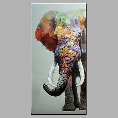 sola mano pura abstracta moderna dibujar listo para colgar decorativo la pintura al óleo del elefante 2016 – $49.99
