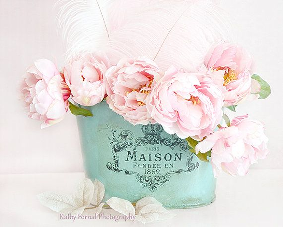 Shabby Chic Pink Peonies Flower Photography Dreamy by KathyFornal