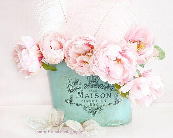Paris photographie de fleurs pivoines, rêveur Decor Chic minable, Photos de rose pivoine, rose Aqua pivoines Teal Floral Decor, Decor de Nursery Baby Girl