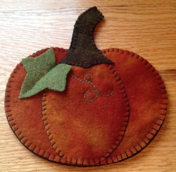 Primitive Wool Penny Rug~Votive Candle Mat~Pumpkin #7