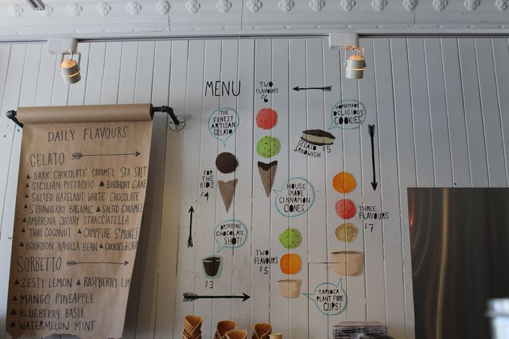 ice cream gelato flavour menu board. Ideas and inspiration for ice cream shops, gelato shops, delis and cafes...