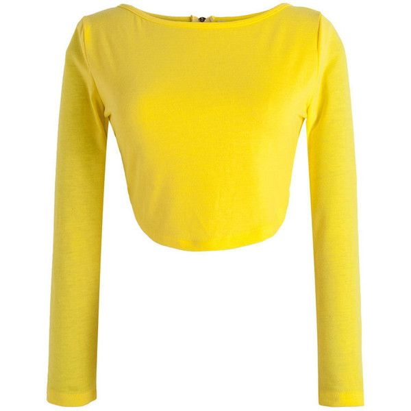 Yellow Long Sleeve Zip Back Crop Tight Top ($17) ❤ liked on Polyvore featuring tops, round top, yellow top, crop top, long sleeve tops i long crop tops