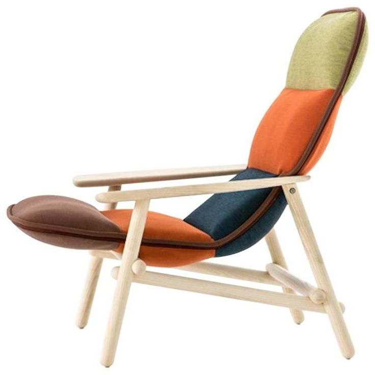 Moroso Lilo Lounge Chair by Patricia Urquiola in Multi-Color Fabric & Solid Wood | 1stdibs.com