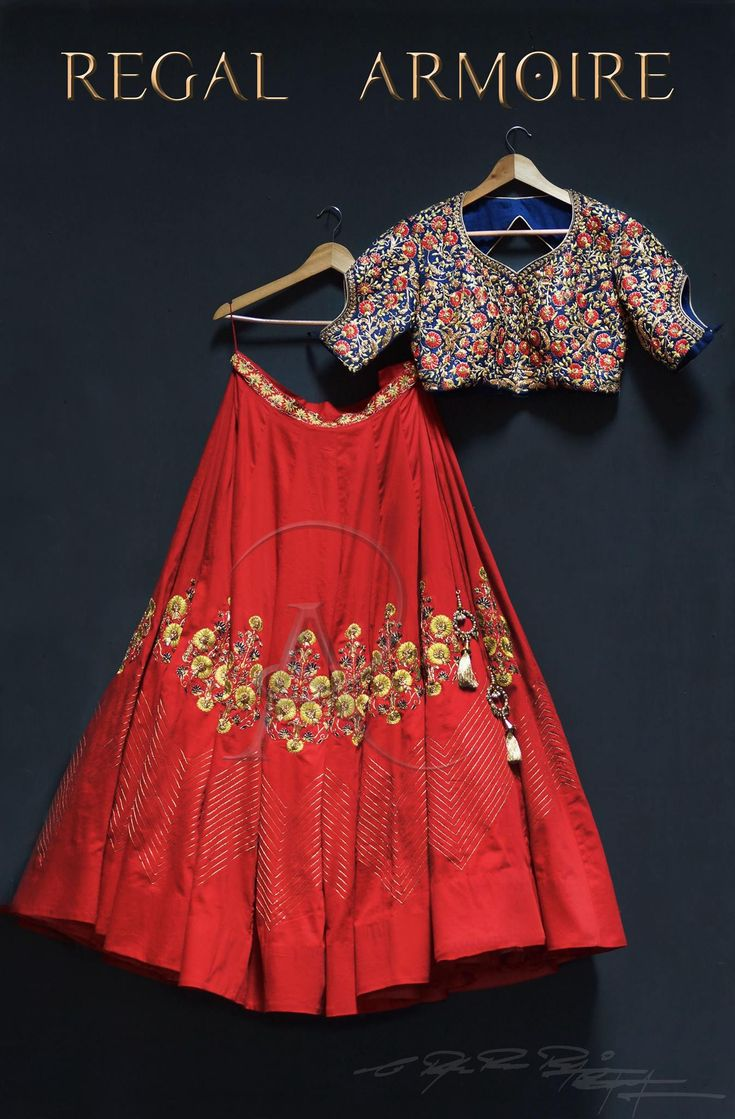 One more masterpiece from the collection The princess Of Thanjavur . Mid night blue with ethnic red custom made lehenga . 08 November 2017