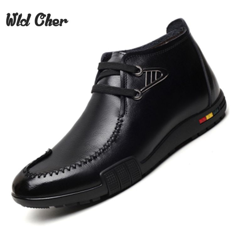 High Quality New Fashion Men Winter Boots Men Snow Boots Warm Plush High Top Genuine Leather Men Boots For Men Shoes