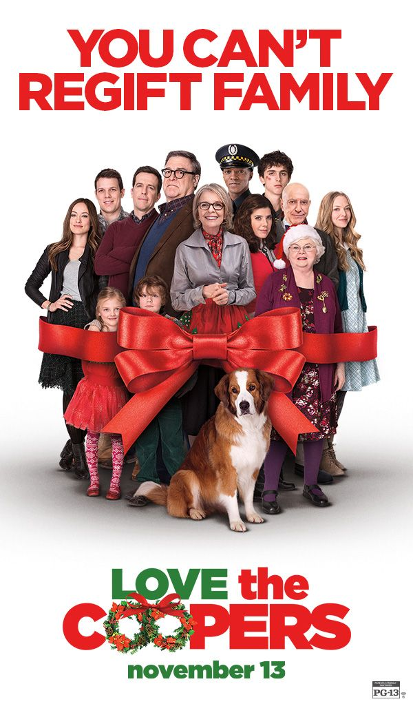 There's a strict no return policy when it comes to family. Meet the cast of the new holiday movie Love the Coopers - In Theaters Friday - Alan Arkin, Alex Borstein, John Goodman, Ed Helms, Diane Keaton, Jake Lacy, Anthony Mackie, Amanda Seyfried, June Squibb, Marisa Tomei, Olivia Wilde.