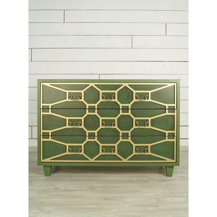 """Большой зеленый комод """"Emerald"""". Материал массив березы. Цвет зелёный. Артикул DSC347ETG. Цена 36694 руб."""