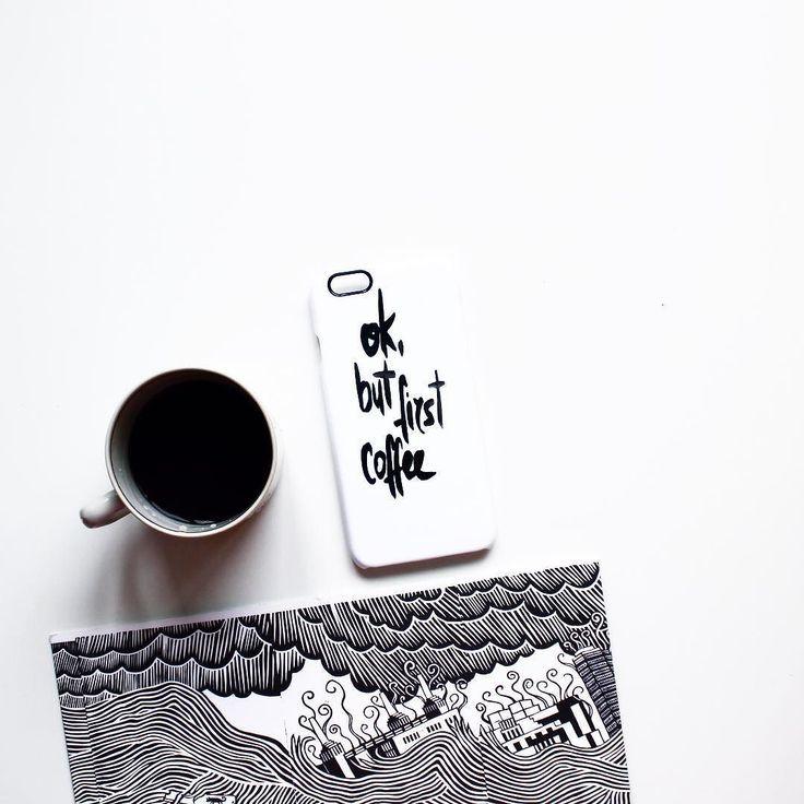 """Любители кофе черно-белого и Тома Йорка оценят """"Ok but first coffee"""" для #iphone6  от @alyamsk_art. #hipoco hipoco.com"""