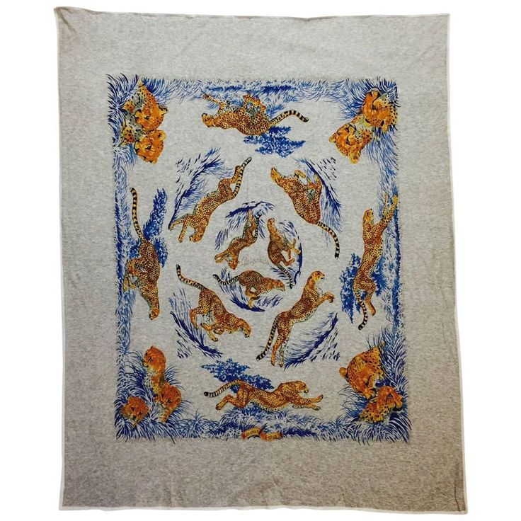 Hermes Guepards Cotton Jersey Scarf by Robert Dallet    From a collection of rare vintage scarves at https://www.1stdibs.com/fashion/accessories/scarves/