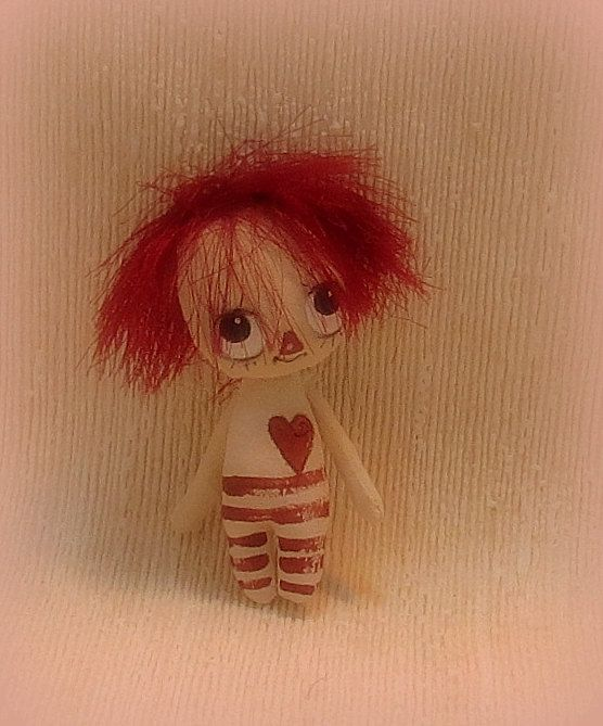 Cheeky Raggedy Ann/Andy tiny cloth doll by suziehayward on Etsy, $35.00 Cheeky lil one ! :3 1/2 inches tall - Hand made - Hand painted - poseable arms - original - Not suitable for younguns
