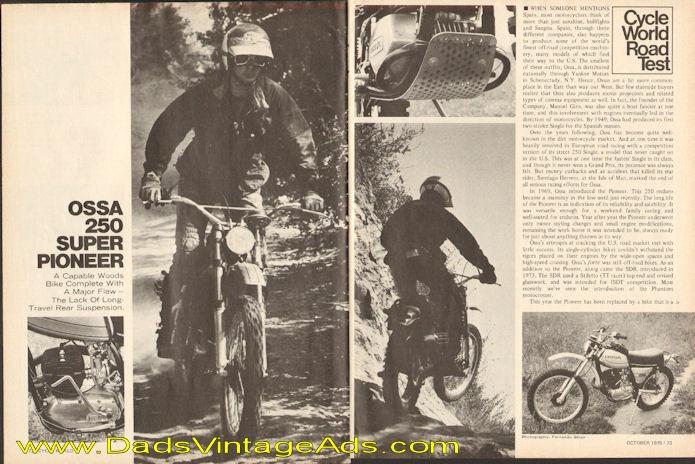 1975 Ossa 250 Super Pioneer Road Test / Specs