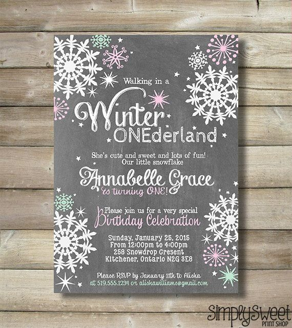 winter onederland girl birthday party invite invitation wonderland one first wintery pink mint chalkboard chalk white snow snowflakes stars - Winter Onederland Party Invitations