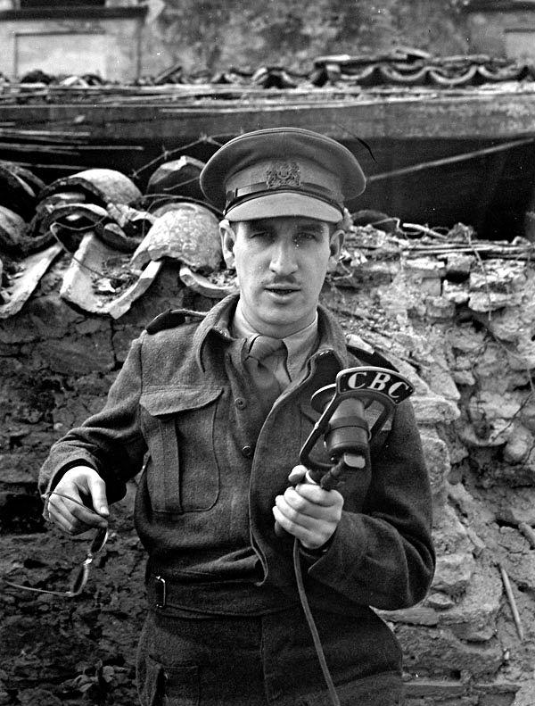 Italy (Misc.) - War correspondent Benoit Lafleur of the Canadian Broadcasting Corporation near San Vito Chietino, Italy, 8 April 1944.