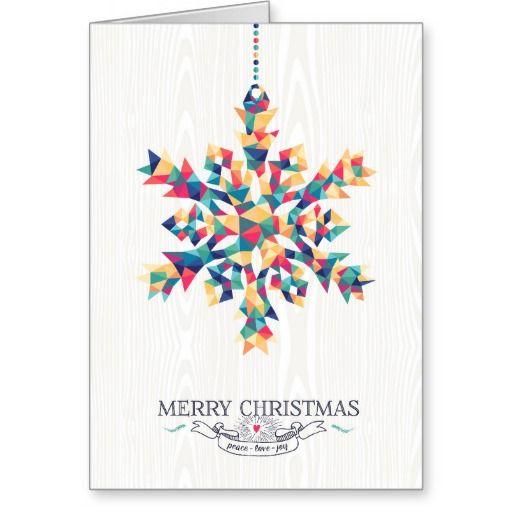 Copo de nieve geométrico con triángulos de colores. Tarjeta moderna de felicitación de la Navidad. | Merry Christmas Card