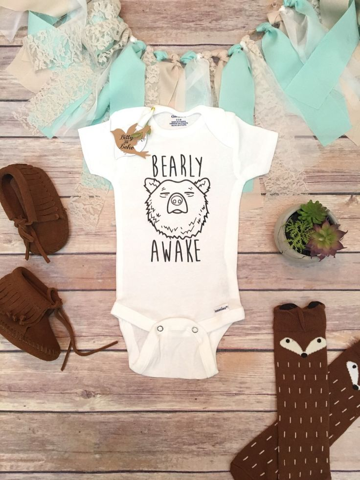 """BEARLY AWAKE Baby Bodysuit in White (shown), Pink, Blue, Gray OR Mint. Adorable baby boy or girl (Unisex) Onesie® bodysuit with """"BEARLY AWAKE"""" and a sleepy bear head printed across the front in black"""
