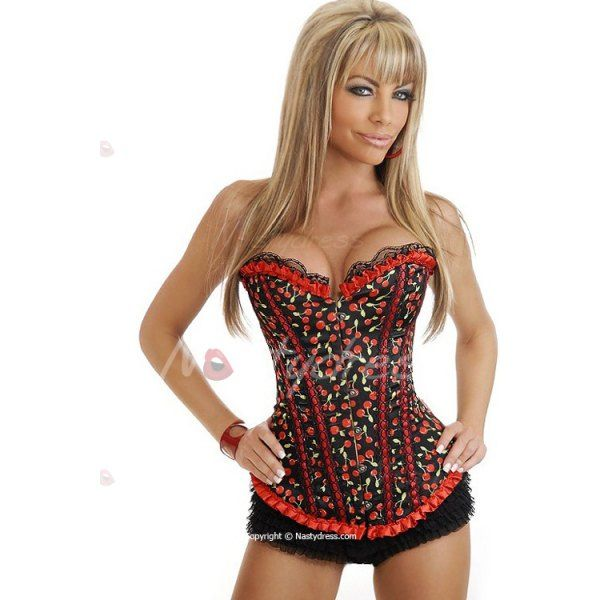 Sexy Cherry Print Lace Hem Corset For Women