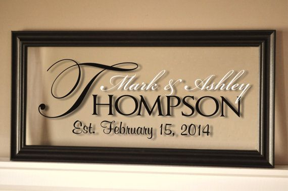 Personalized Family Name Sign Picture Frame Established Family Sign 11x21 on Etsy, $38.00