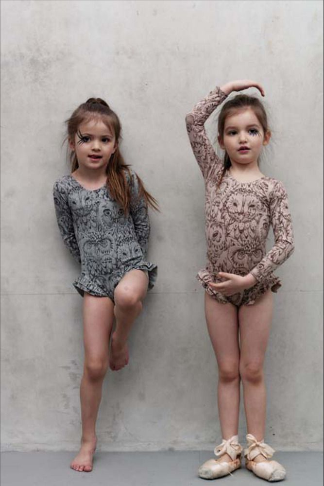 penny body fawn leotard with owl print