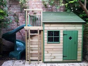 Bespoke wooden playhouses-great idea to combine playhouse with climbing frame! perfect for saving space in our small garden.