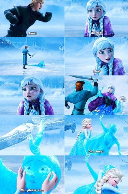 Does anyone else notice Elsa never even says sorry to Anna? Anna froze over because of Elsa and she doesn't even say sorry to her.....