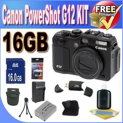 Canon G12 10 MP Digital Camera with 5x Optical Image Stabilized Zoom and 2.8 Inch Vari-Angle LCD + 16GB SDHC Memory + Extra Extended Life Battery + Ac/Dc Charger + USB Card Reader + Deluxe Case w/Strap + Memory Card Wallet + Accessory Saver Bundle !! by BVI. $689.00. Kit Includes! 1- Canon G12 10 MP Digital Camera USA w/ All Supplied Accessories 1- 16GB SDHC Memory Card (Don't Miss a Memory!) 1- Memory Card Wallet (Keep Photos Organized!  1- Lithium Ion High Capacity Battery (G...