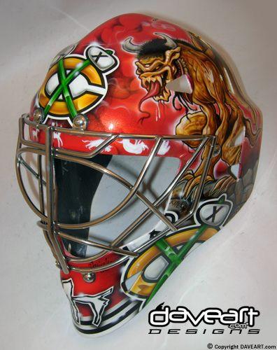 bkackhawks goalie masks | Blackhawks Gargoyles Red Sky - Marty Turco, Chicago Blackhawks, NHL ...