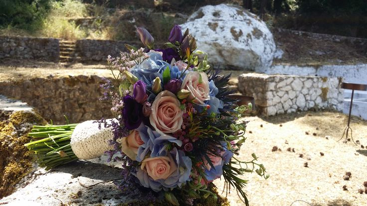 Wild flower bride bouquet by Gourioti Flowers for @lefkasweddings