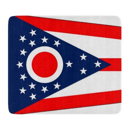 Small glass cutting board with Ohio flag - kitchen gifts diy ideas decor special unique individual customized