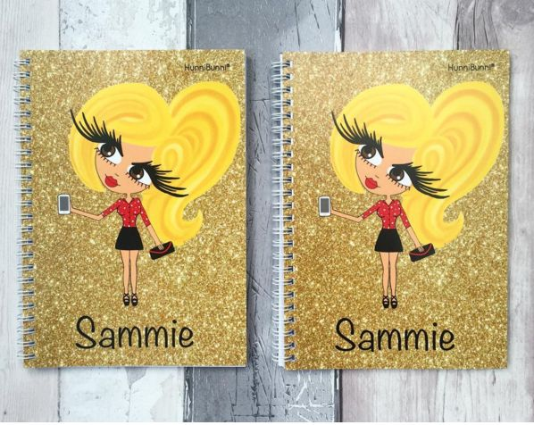 Gorgeous matching notebook and diary - available with lots of different background designs and all can be personalised with name, outfit, hair style, hair colour, eye colour and skin tone. Adult and child designs available.  ❤www.hunnibunniboutique.co.uk