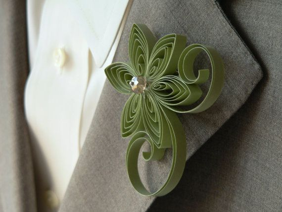 Sage Green Boutonniere Sage Buttonhole Moss by MiaettiaCreations, $18.00 I would wear as a pin, or convert into hair piece