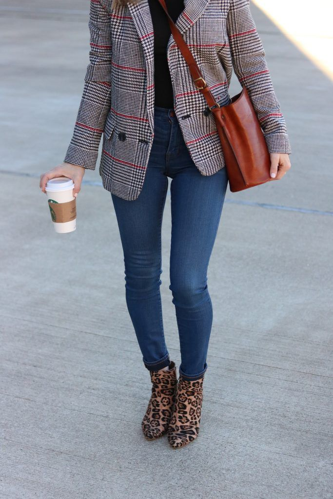 ffc8043f7e41 Leopard print block heeled boot with dark denim and a plaid blazer |  Madewell | Forever 21 | Nordstrom | MY TOP 20 LEOPARD PRINT PICKS FOR FALL  featured by ...