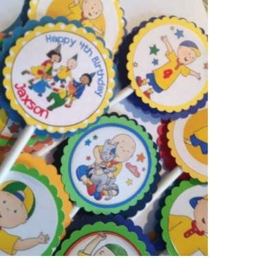 24 Personalized Caillou Cupcake Toppers Caillou Birthday
