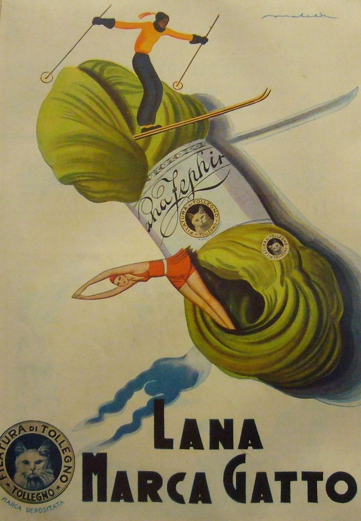 1920s Italian Advertisement Lana Marca Gatto #1920-1940 #affiche-italienne #colorful #italian #italie #laine #lana-marca-gatto #matted #mini-poster #poster #publicite-italienne #skiing #small-poster #sports #swimming #vintage-advertisement #vintage-poster #wool