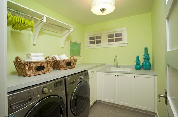 Laundry Room Shelves: Keep Everything Organized And Within Reach. Large hanging space.