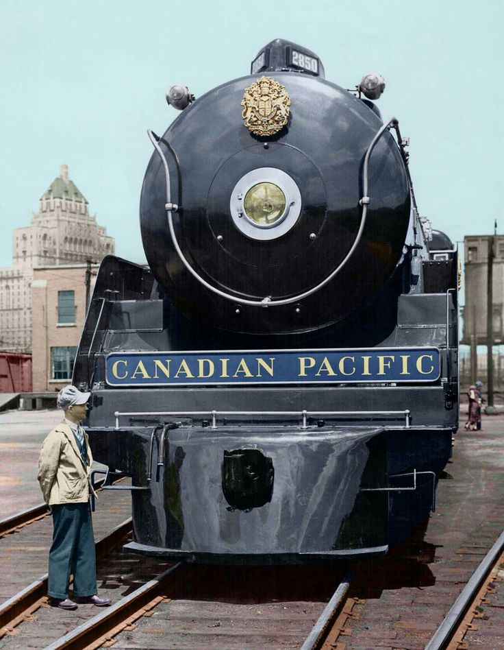 One of the locomotives used on the 1939 Royal Tour train, parked in the rail yards at Toronto, photographer unknown. Colourization by Jeremy Hopkin. - Image courtesy of the Toronto Public Library & the Toronto Star Archives.  https://www.facebook.com/hopkindesign/