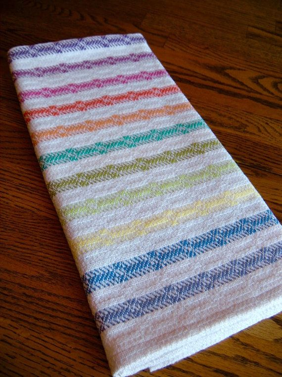 Wonderful Hand Woven Guest Towel, Gourmet Kitchen Towel, Handwoven Tea Towel, Woven  Dish Towel, Kitchen Linen, Hand Woven Towel, Rainbow Stripes