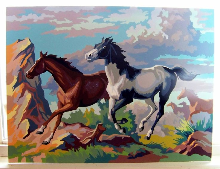 VINTAGE PAINT BY NUMBERS HORSES