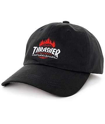 2686df529f8 Part of the limited edition HUF x Thrasher Tour De Stoops collaboration  collection. Black curved bill baseball hat with custom Thrasher Flame   HUF  ...