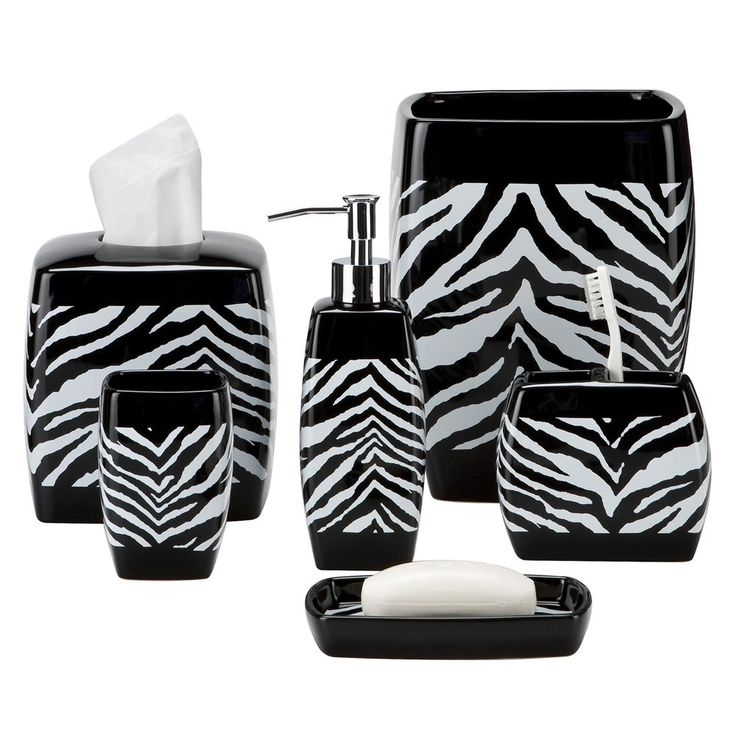 Black And White Zebra Bathroom Accessories