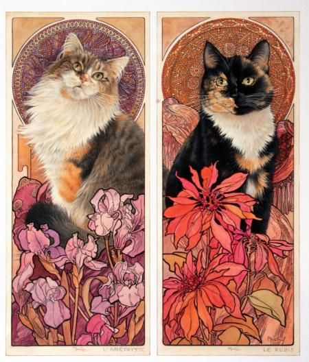 AGNEATHA - L'AMETHYST AND MOTLEY - LE RUBIS    MOTHER AND DAUGHTER IN ALPHONSE MUCHA'S JEWEL PANELS by Lesley Anne Ivory