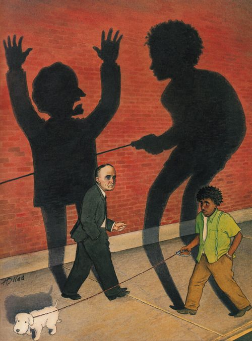 This banned cover from The New Yorker is by Harry Bliss. It explores the fallout after Haitian immigrant Abner Louima was attacked and raped by white police officers in 1997. The case became a national symbol of police brutality and fed perceptions that New York City police officers were harassing or abusing young black men.