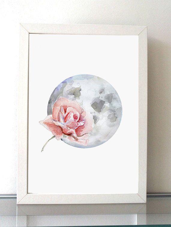 Maan en Roos Aquarel schilderij  Roze roos  Giclee door Zendrawing