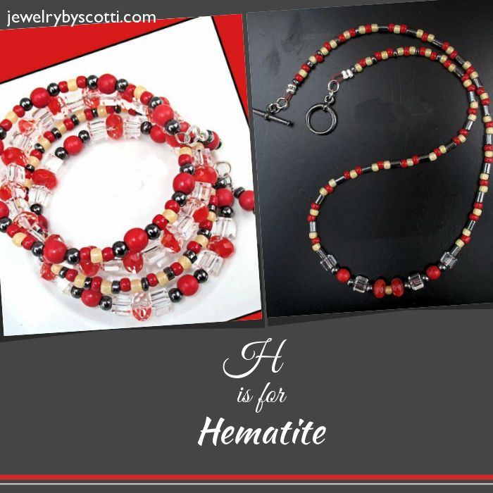 Shop now for 15% off everything! https://www.etsy.com/shop/JewelryByScotti ..... Hematite -- also called Alaska Black Diamond -- provides a dark gray-black accent to this predominantly red necklace and bracelet, which also feature Czech glass and pepper red and milky topaz seed beads. #handmadejewelry #jewelryonsale #onsale #hematitejewelry #bohostyle #onlineshopping