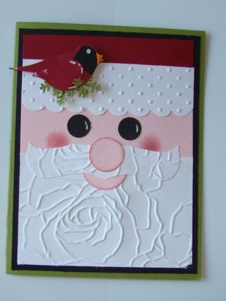 So cute!  Santa Claus card made with SU embossing folders!: Christmas Cards, Punch, Rose, Embossing Folder, Craft, Cards Holiday, Cards Christmas Winter, Card Ideas, Manhattan Flower