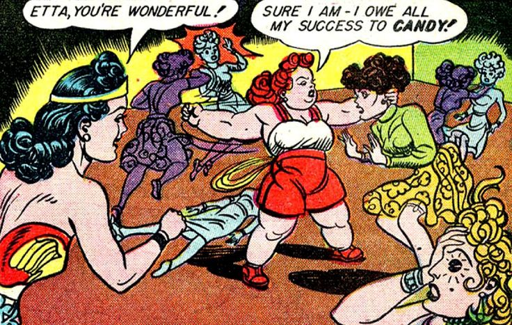 The wonderful Etta Candy, ladies and gentlemen.  —Sensation Comics #12 (1942) by William Moulton Marston & H.G. Peter