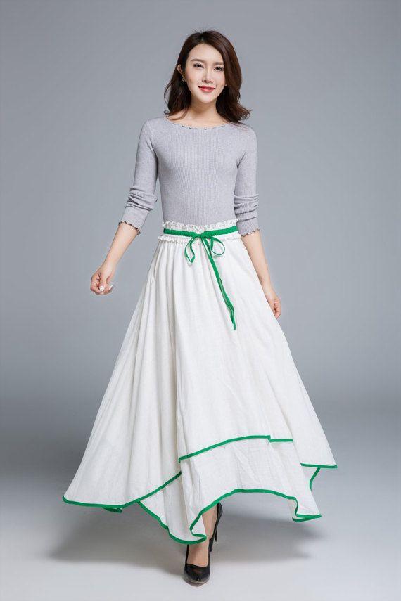 witte linnen rok schommel rok boho rok maxi rok hoge